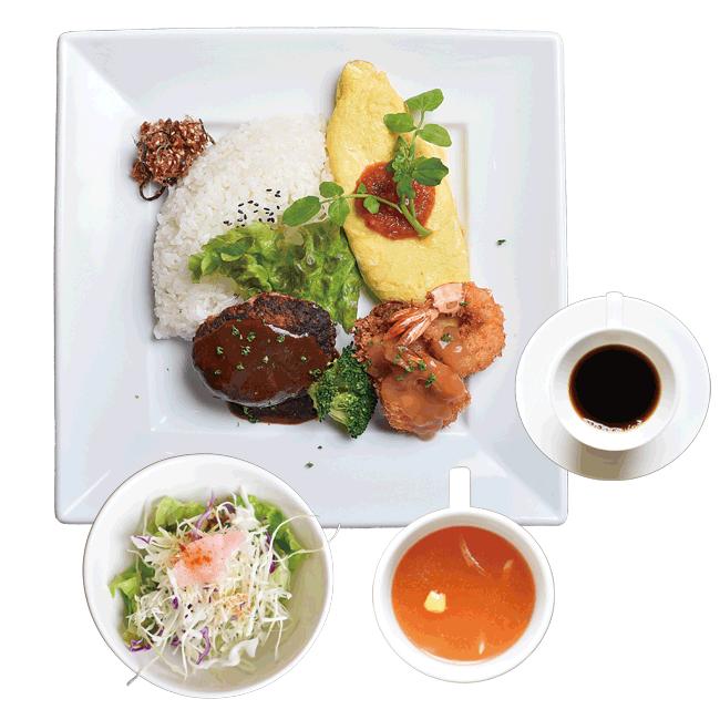 松キッチンの松キチプレート(サラダ、スープ、ドリンク付き) 1,000円